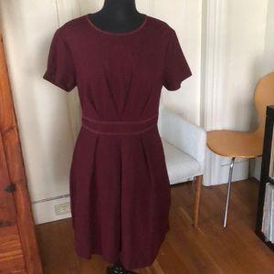 Trina Turk pleated tailored burgundy dress 12